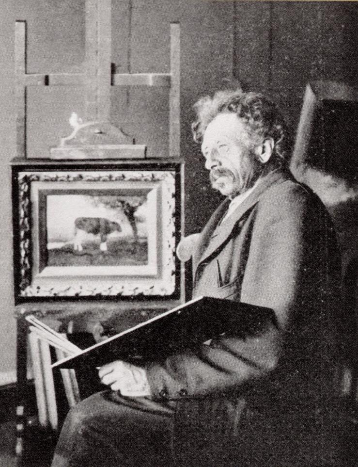 H.A. van Ingen in zijn atelier in de Dorpsstraat te Renkum.
