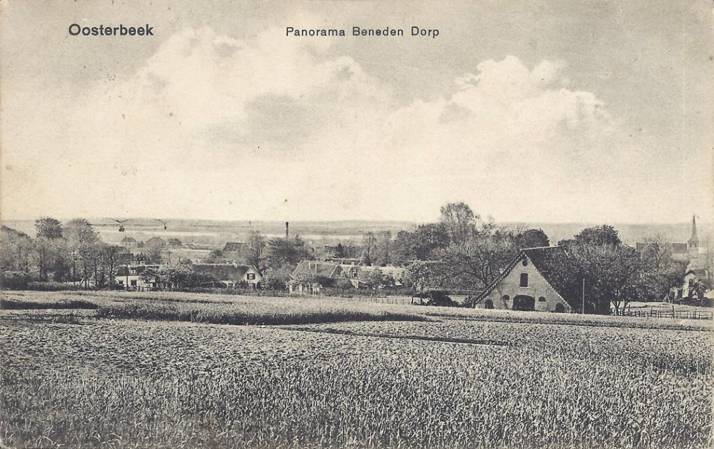 """Zicht vanaf de """"Van Eeghenbank"""" zuidwaarts richting uiterwaarden, Rijn en spoorbrug."""