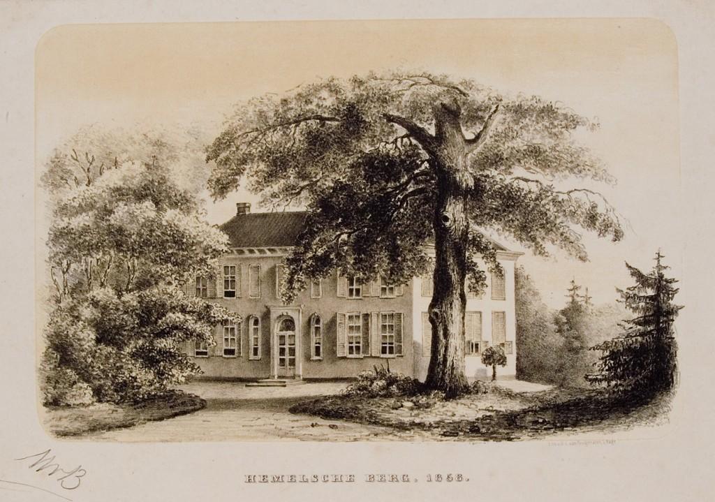 De voorzijde van het tweede huis Hemelse Berg ( westzijde) zoals gebouwd door D. Gaymans, na hem bewoond door achtereenvolgens Kallenberg van den Bosch, Robide van der Aa en Kneppelhout. Gravure naar een aquarel van onbekende hand.