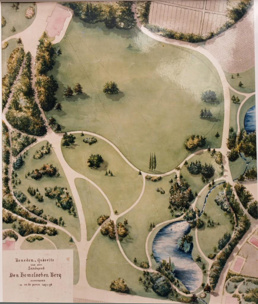 Ontwerp voor het park rond het nieuwe huis de Hemelse Berg v.d.h.v. Hendrik Copijn. 1870