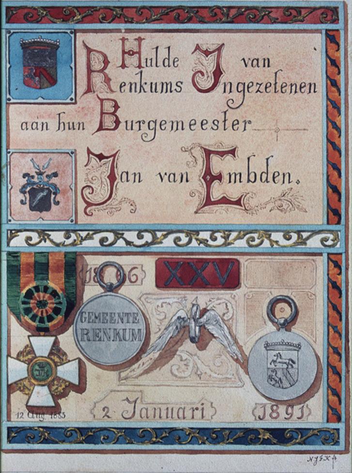 Schutblad in het Album Amicorum Jan van Embden aangeboden in 1891bij zijn jubileum.