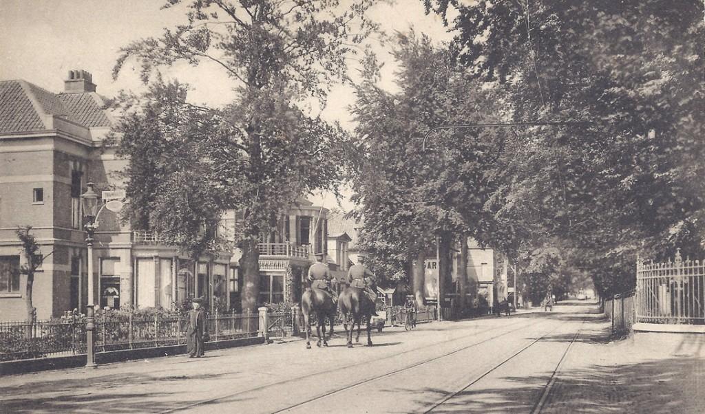 """De rij villa's tegenover de ingang van de """"Dennenkamp met links het pand van Romijn, daarnaast """"Schoonzicht"""" met als laatste zichtbare pand de banketbakkerij van Klint."""