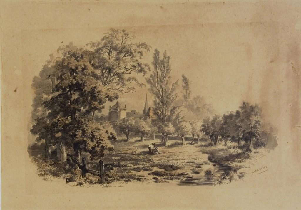 Nabij het Kerkpad aan de Gielenbeek, aquarel Maria Vos, collectie Gelders Archief.
