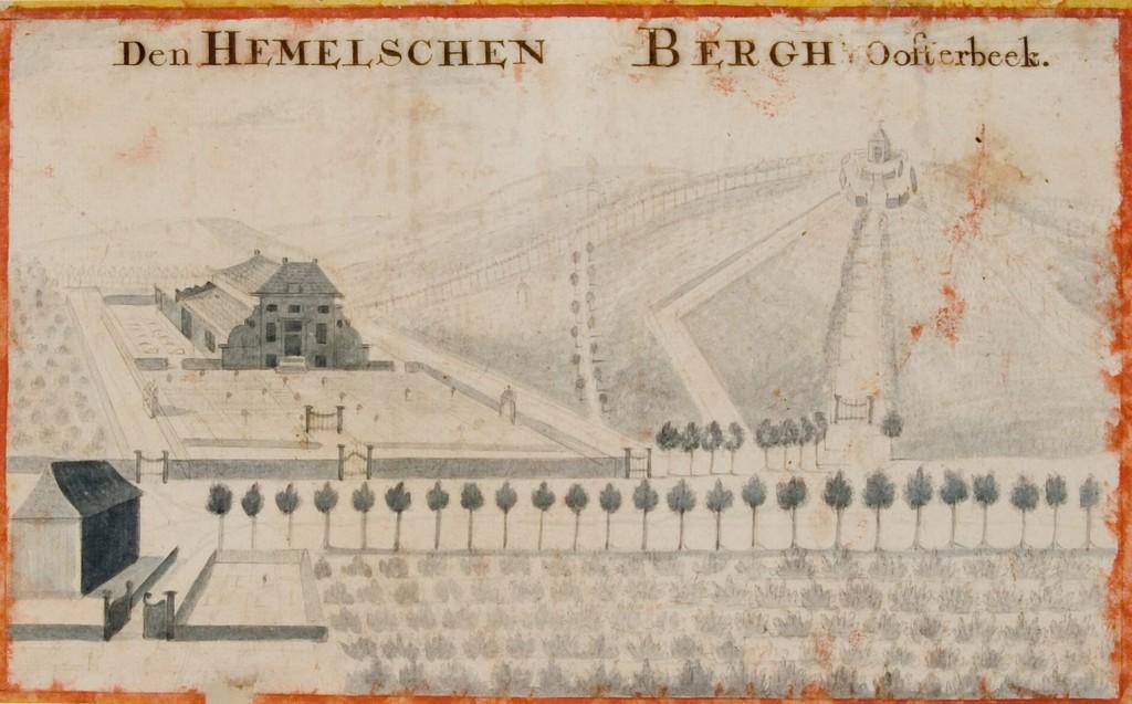 Prent van rond 1750 met het eerste huis Hemelse Berg. Onderaan de Hoofdlaan die dich onder het huis liep (zie plattegrond hierna. Rechts boven de theekoepel van de familie Van der Hoop op de plek waar nu de gedenknaald staat. Het lanenplan geeft aan dat de tegenwoordige paden ermee sterk corresponderen.