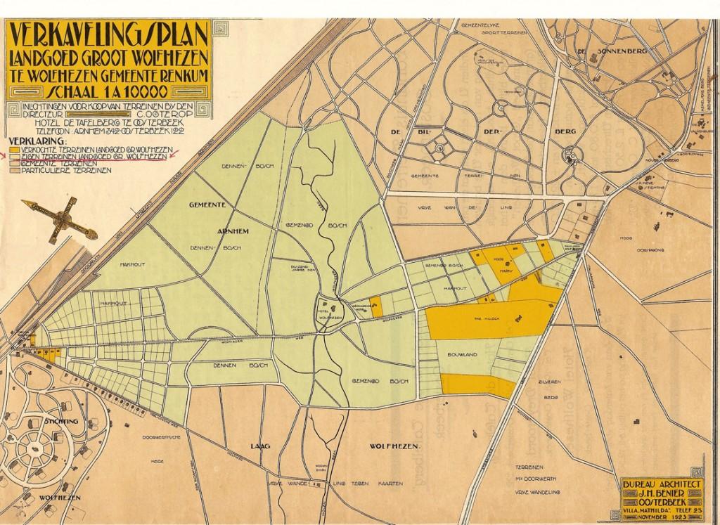 """Een verkavelingsplan uit 1923 waarop het kavel Laag Wolfheze staat aangegeven met het in gebruik genomen huis """"Laag Wolfheze"""""""