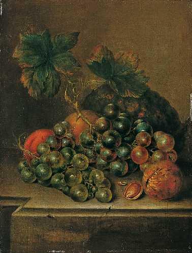 Het vroegst bekende werk van Adriana Haanen, een fruitstilleven uit 1833. Olieverf op paneel.Particuliere verzameling.