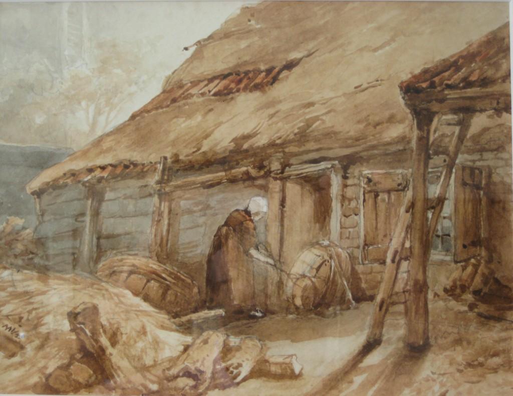 De boerderij achter de Oude Kerk. Aquarel van Maria Vos. Particuliere collectie. Op de achtergrond zijn de contouren van een raam aan de zuidzijde van de kerk waarneembaar.