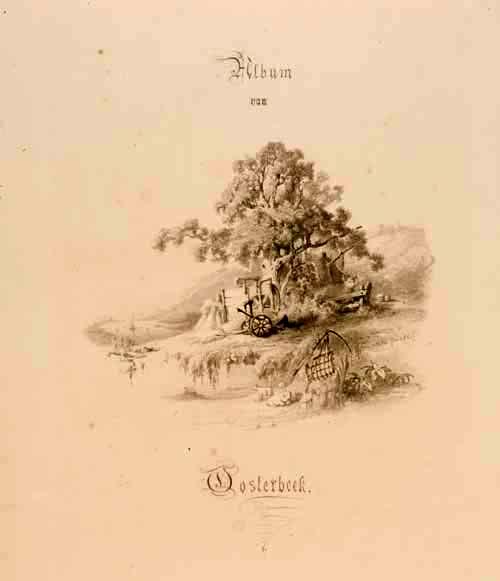 De aquarel die diende als voorpagina van het Album van Oosterbeek, 1861. Gelders Archief.