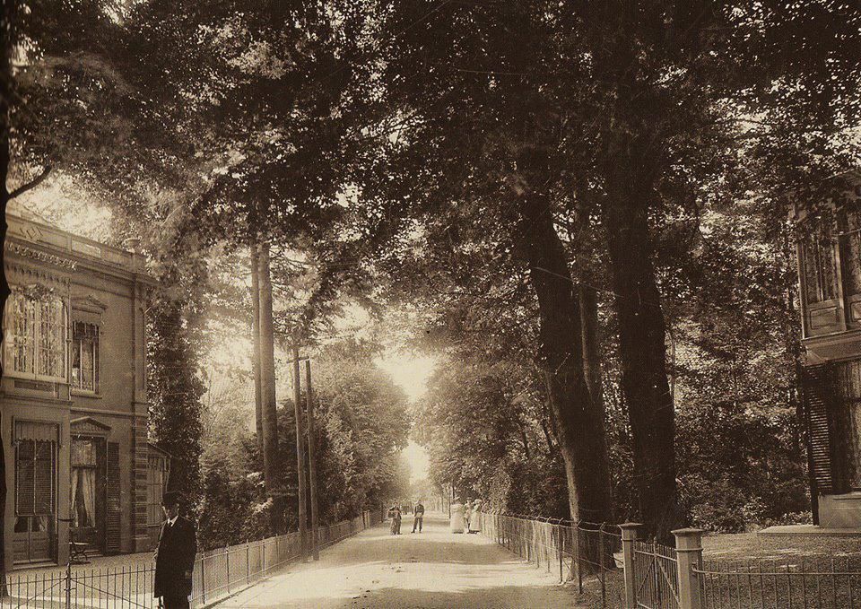 """De hoek van de Annastraat met de Utrechtseweg in 1896, met links villa """"Eletta""""."""