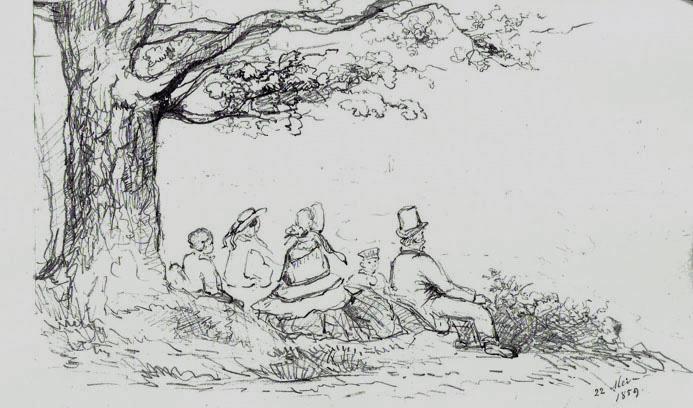 Familie Van Eeghen op se stuwwal bij Oosterbeek. Tekening uit schetsboek van Maria Vos. Particuliere collectie.