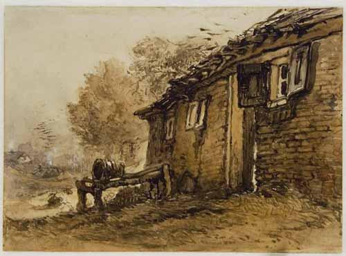 """Eén van de aquarellen uit het """"Album van Oosterbeek"""", 1861, voorstellende de boerderij achter de Oude Kerk aan de Benedendorpsweg."""
