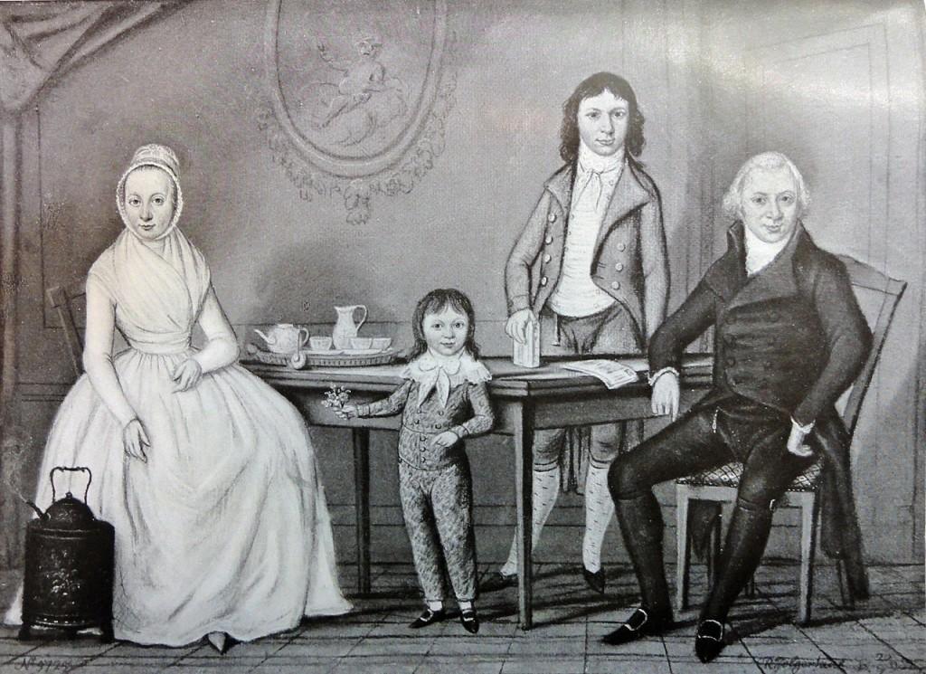 Gravure naar een schilderij van Rienk Jelgershuis (1728-1806), zien we v.l.n.r. Maria Sophia Brouwwer, Isaac Anne, Jacob Louis en Paulus Nijhoff.