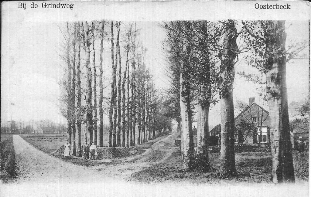 Grindweg, rond 1900, op het kruispunt Julianaweg/ Prins Bernhardweg. Links op de achtergrond de molen op Molenberg II (Molenweg).