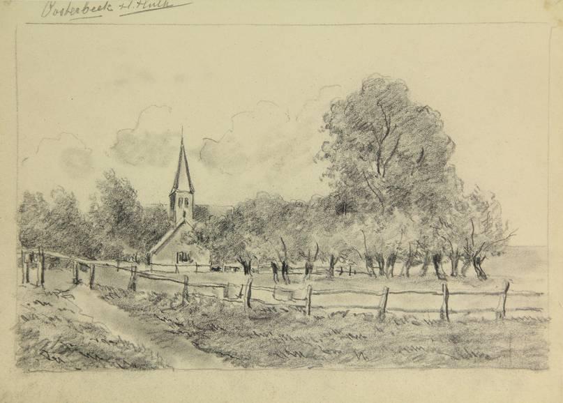 Hendrik Hulk (1848-1938), het Kerkpad, tekening, particuliere collectie.