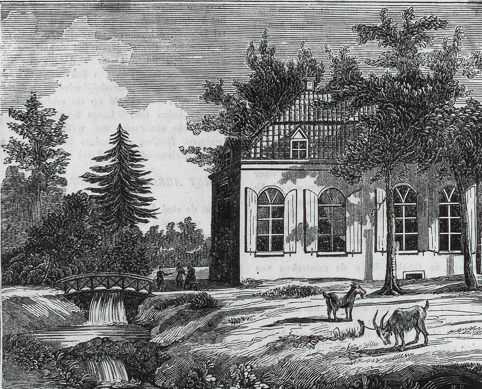 """De eerste kostschool """"Het Hemeldal"""", ets door H. W. Last naar een aquarel van J. F. Christ."""