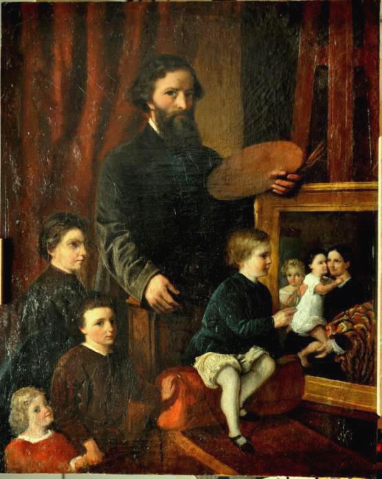 Hendriks met 4 van zijn dochters. (particuliere collectie)