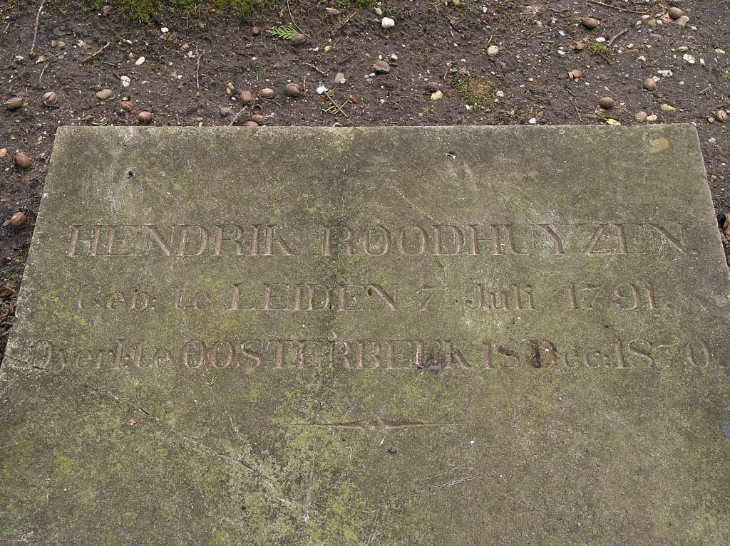 Het graf van Hendrik Roodhuyzen op de Oude Begraafplaats.