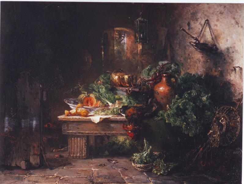 Een van de vele stillevens die Maria Vos in haar lange loopbaan schilderde. Particuliere collectie.