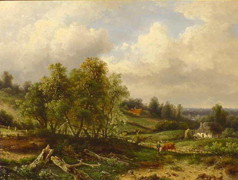 Het Zweiersdal te Oosterbeek. Schilderij op paneel van C. H. Meiners., 1854. Private collectie.