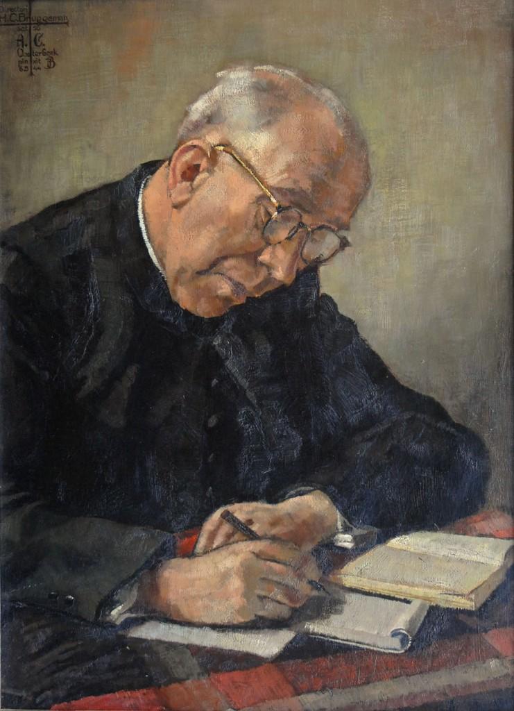 Portret van pastoor Bruggeman van de hand van Josephus Marie Adriaan (Joop) Bonsen (1891-1966).