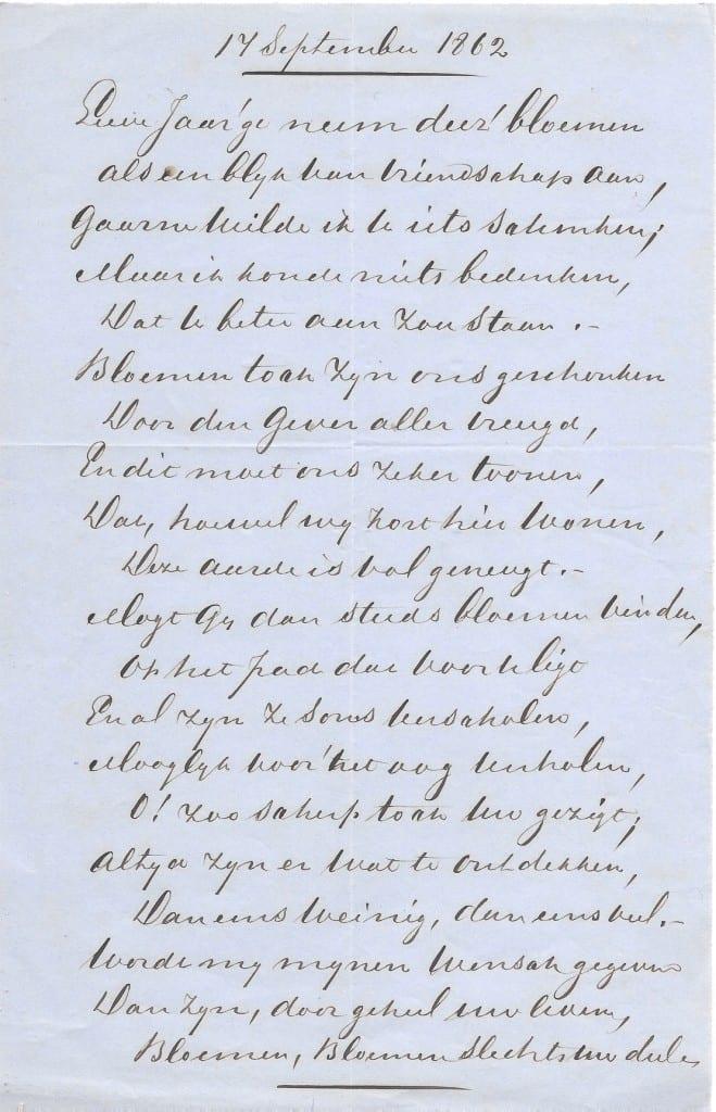 """Gedicht van Henriette Meyer voor de jarige Ursula Kneppelhout- van Braam die met haar man Jan Kneppelhout op het nabij """"Valkenburg"""" gelegen landgoed """"Hemelse Berg""""woonde. Gedateerd 1862"""