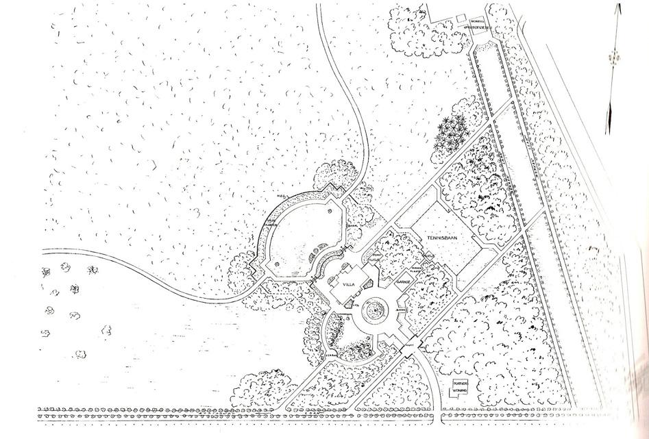 """Het tuinplan voor """"Laag Wolfheze"""" uit 1919 van S. Voorhoeve"""
