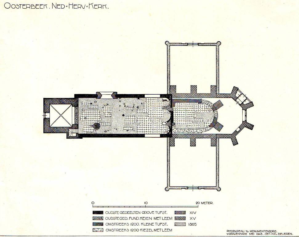 Overzicht van de veschillende bouwfasen van de Oude Kerk.