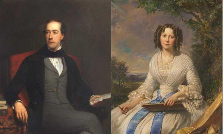 Jan Kneppelhout en Ursula van Braam, portretten door N. Pieneman, 1851