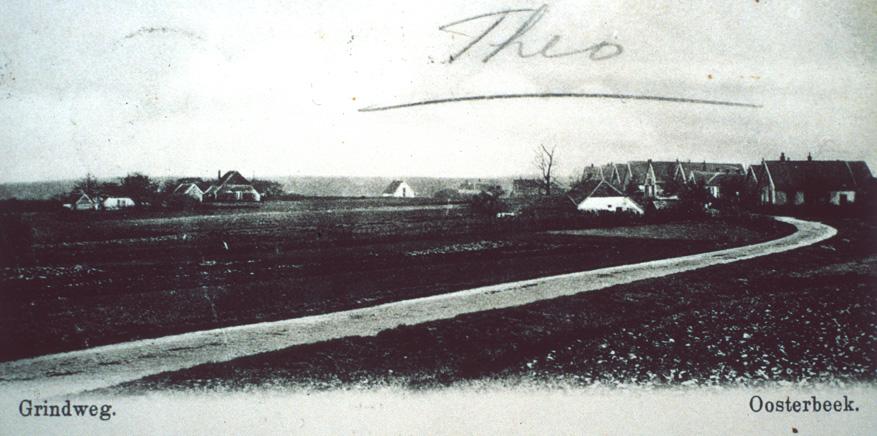 De Grindweg of Nedermeijer van Rosenthalweg nabij de plek waar de huidige Vogelweg op de Nedermeijer van Rosenthalweg uitkomt.