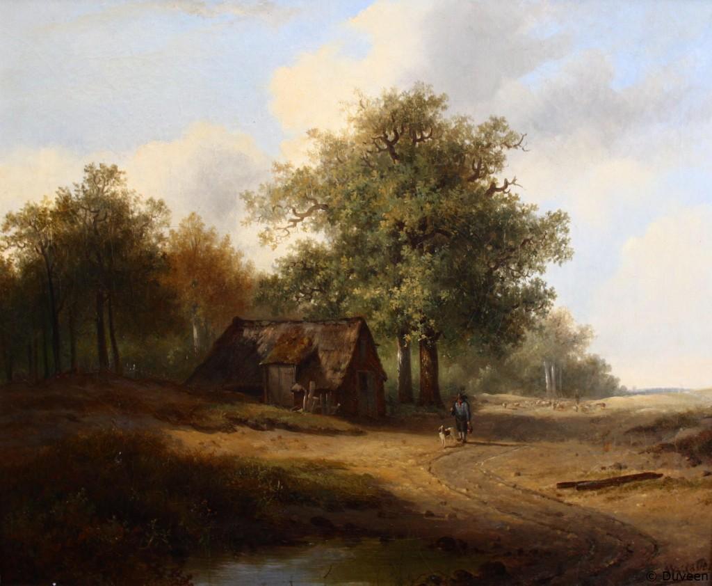 Boerderij bij het bos met een herder en zijn hond