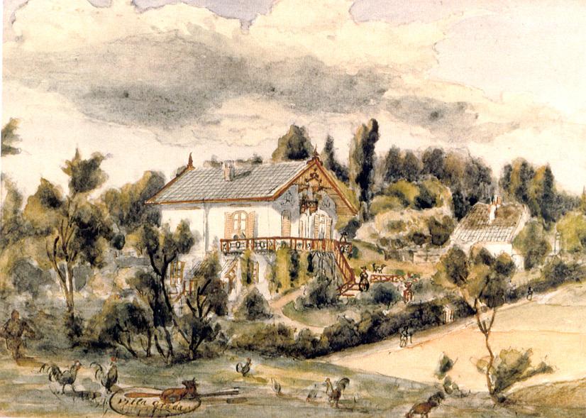 Ter gelegenheid van de oplevering van villa Grada maakte haar vriendin Maria Vos deze aquarel met de villa en een palet met een liggende vos waarom heen enige hanen paraderen.