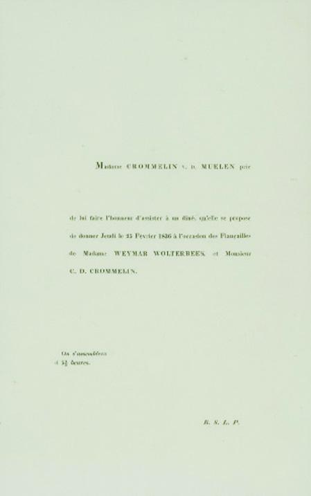 Huwelijksaankondiging van Aleida Marie Wolterbeek en Claude Daniël Crommelin in 1836.