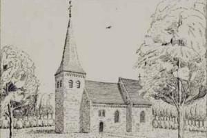 Het vermoedelijk uiterlijk van het in de 11 de eeuw gebouwde kerkje van Oud Wolfheze.