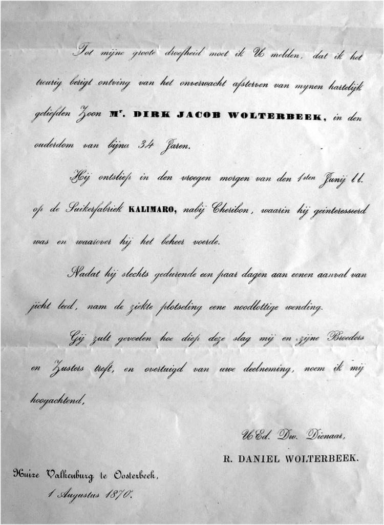 Het overlijdensbericht van Dirk Jacob Wolterbeek door zijn vader opgesteld.