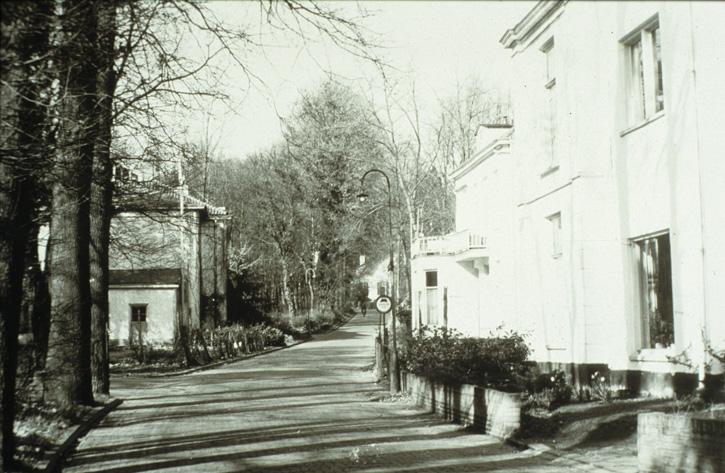 Kneppelhoutweg nabij de Hoofdlaan (links) met links de voormalige kostschool voor Jonge Heren het Hemeldal, gesticht door Lucia Kallenberg van den Bosch in 1826, na het overlijden van haar eerste echtgenoot. In later jaren pension.