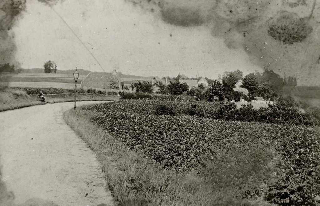 Benedendorpsweg t.h,v, het huidige nummer 48. Rechts op de voorgrond, achter geboomte een verdwenen boerderij met daarboven uit stekend het nog bestaande huis op nummer 34, (sterk verbouwd) gebouwd in 1907.