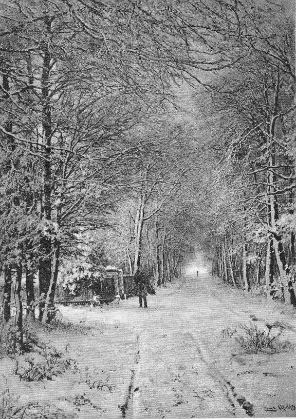 """Schilderij van Louis Apol voorstellende de Kerkhofweg, de latere Fangmanweg, met links de ingang van """"Bergoord"""" en de toegangszuilen van de Oude Begraafplaats. (foto particuliere collectie)"""