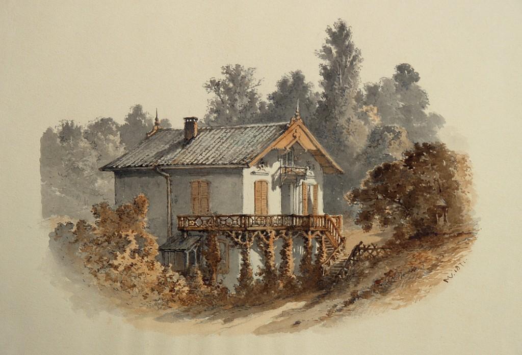 Aquarel gemaakt door Maria Vos in 1871 na oplevering van Villa Grada. (particuliere collectie)