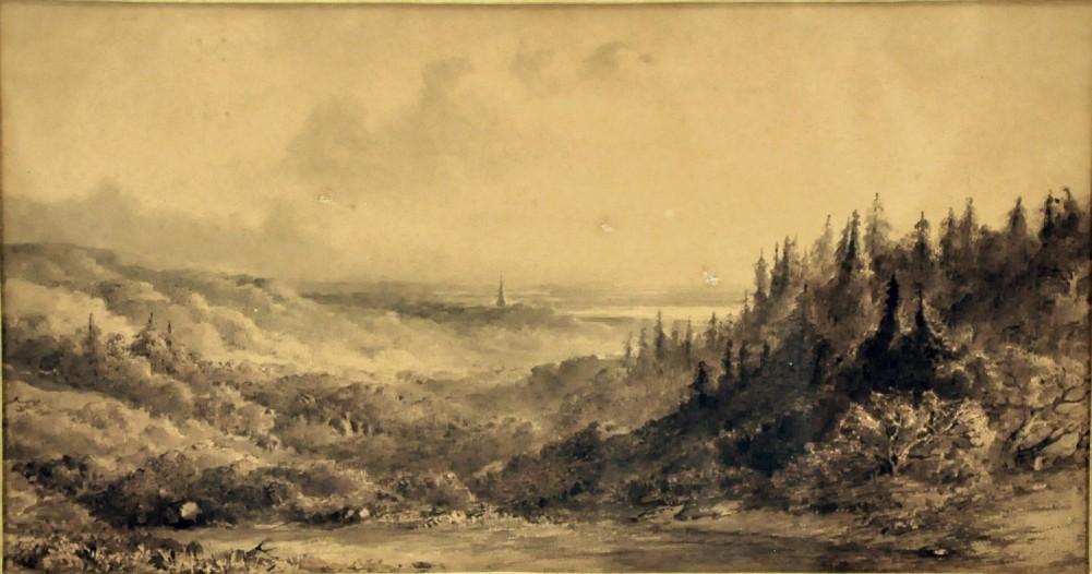 Het Zweiersdal vanaf Overzicht. Tekening Maria Vos