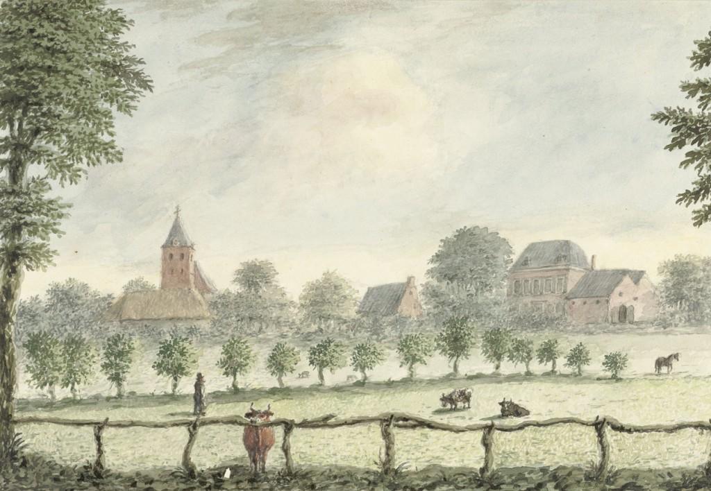 Gezicht op Renkum, D.A. Clemens, krijttekening 1825. Collectie Rijksprentenkabinet Amsterdam, RP-T-1921-207RP