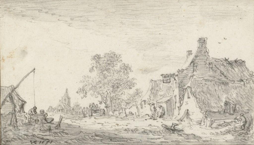 De Postweg van Renkum in westelijke richting met de Oude Kerk op de achtergrond, tekening van Jan van Goyen 1651 Rijksprentenkabinet, Amsterdam, RP-T-1899-A-4319