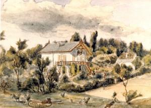 """""""Villa Grada"""" kort na de oplevering. Aquarel Maria Vos."""
