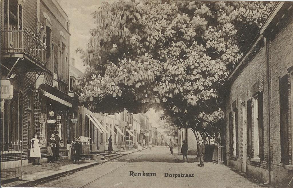 Links de uitgever/ boekwinkel/ drogisterij Manasse daarachter de winkel in manufacturen van de dames Klein Molenkamp. De kastanje op het erf van Van Riessen reikt over de Dorpsstraat vrijwel tot aan de gevel van Manasse.