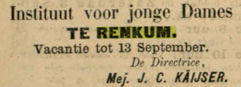 Twee annonces in de Telegraaf van de achtereenvolgende directrices van de dames- kostschool Renkum