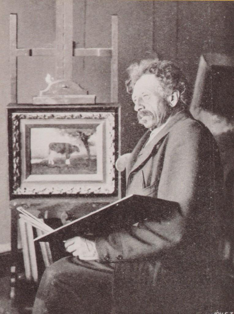 Hendrikus A. van Ingen in zijn atelier aan de Dorpsstraat te Renkum.