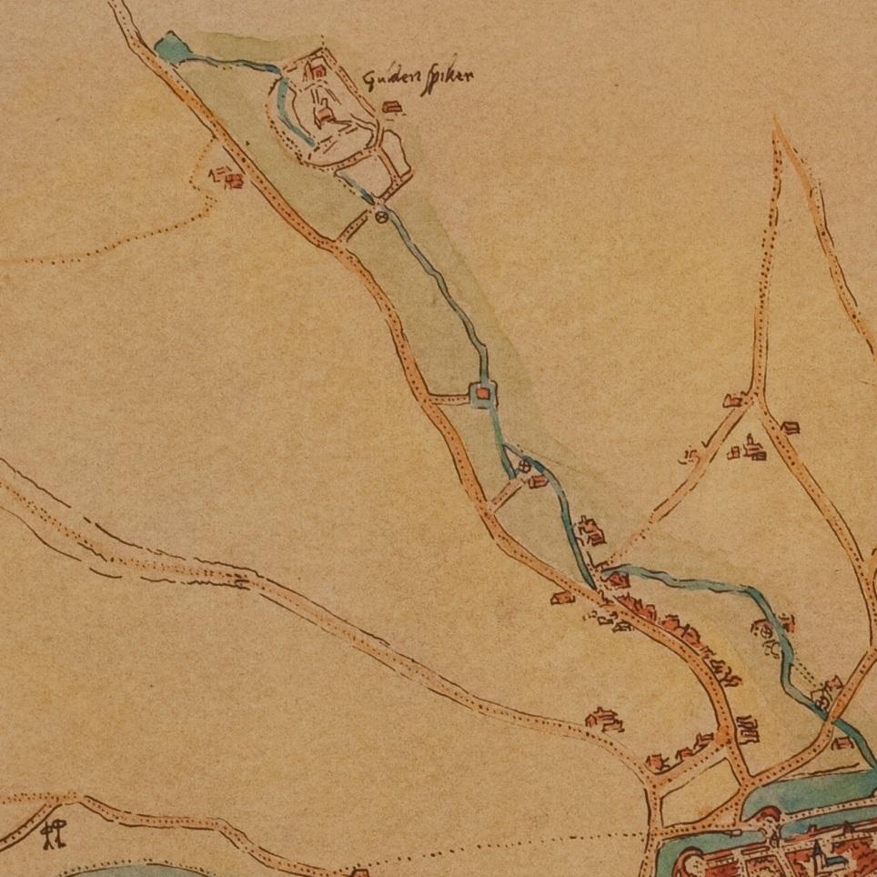 De 4 buitenmuurse watermolens aan de st. Jansbeek bij Arnhem Detail kaart van Arnhem, Jacob van Deventer, rond 1550 Gelders Archief inv.nr. 0963-PL4, 50x 58 cm