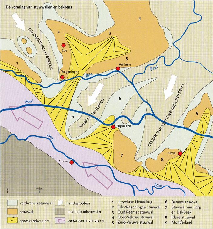 De route van het Scandinavisch landijs ten tijde van de vorming van de stuwwallen aan de Zuid Veluwe en Utrechtse heuvelrug.