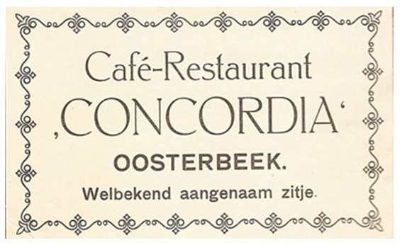 Advertentie restaurant Concordia in Oosterbeek