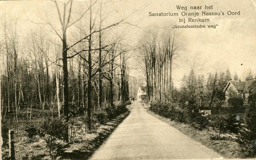"""Wandelen we westwaarts over de Grunsfoortse Dijk dan zien we rechts de tuinmanswoning """"de Plankjes"""" met, niet zichtbaar daarachter de ommuurde (moes) tuin."""