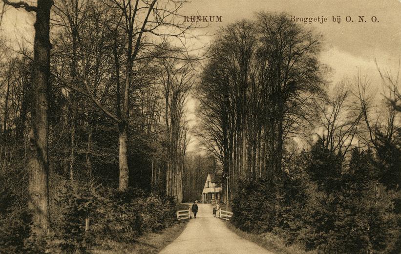 De Grunsfoortse Dijk in westelijke richting met op de achtergrond de boswachterswoning.